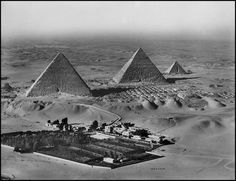 1924   The three great , Kheops, Kephren, Mykerinos (IVth dynasty, around 2,600 B.C.) This aerial view of the great pyramids was made for the first time in 1924, after an initial failed manual attempt by the American Henry Breasted in 1921. A photographer for the Royal Air Force attached a camera onto the fuselage of his Bristol Fighter MK II, the Royal Air Force's work horse during all of World War I. He was this able to calculate his frames from the top of the Mena House Hotel, which…