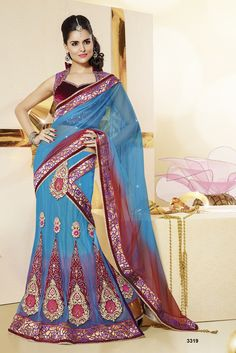 Khazanakart Heavy Embroidery Net And Satin Saree In Aqua Blue And Red Color