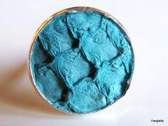 Bague en cuir peau de tilapia turquoise sur anneau réglable argenté : Bague par fangiella1