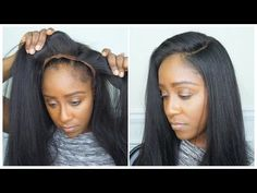 GLUELESS LACE KINKY STRAIGHT WIG INSTALL | NO HAIR OUT | NO GLUE | NO SEW | NO TAPE - YouTube