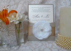 Flower Pocket via Etsy, rhinestone flower invitation