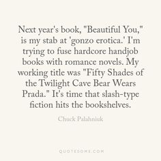 Chuck Palahniuk on his next book.