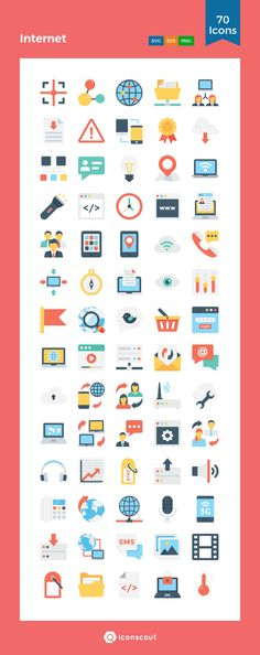 Internet  Icon Pack - 70 Flat Icons