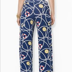 Lauren Ralph Lauren Nautical Jersey Pants Adorned with a fun nautical anchor pattern, this ultra-soft stretch viscose jersey pant features a wide-silhouette and a comfortable elasticized yoked waist. Very SLIGHT fade from being washed. Ralph Lauren Pants Wide Leg