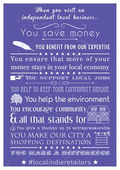 All of the reasons you need to shop local! #localindieretailers #indieretail