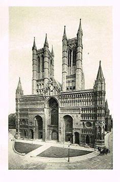 """Cook's England Picturesque - """"LINCOLN CATHEDRALE"""" - Photogravure - 1899"""