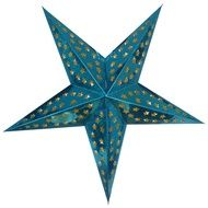 "24"" Turquoise Hologram Cut-Out Paper Star Lantern, Hanging (Light Not Included)"