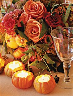 Style Ideas for a Rustic Fall Reception: accent centerpieces that include autumnal-hued roses, hydrangeas, and scabiosa pods, with some miniature pumpkin votives Pumpkin Candles, Pumpkin Tea, Pumpkin Lights, Fall Wedding Centerpieces, Apple Centerpieces, Halloween Centerpieces, Centerpiece Ideas, Mini Pumpkins, Small Pumpkins