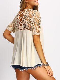 3af444d1cf4569 Shop Apricot Crochet Lace Yoke Lace Up Back Blouse EmmaCloth-Women Fast  Fashion Online -