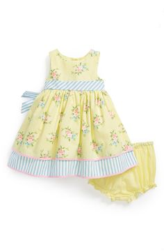 Free shipping and returns on Laura Ashley Floral Print Dress & Bloomers (Baby Girls) at Nordstrom.com. Crisp striped trim highlights the sunny appeal of a sleeveless cotton-blend dress with vintage-style floral print and a flouncy, tulle-lined skirt. Coordinating bloomers complete the charming style.