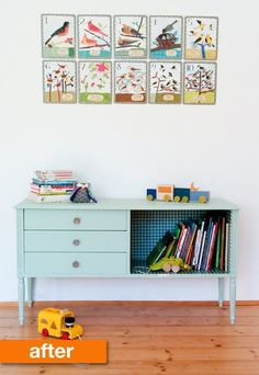 Sweet bookshelf/cupboard transformation!