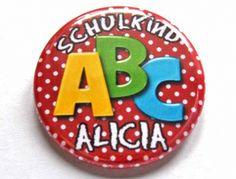 ABC Button Schulkind 2016 rot mit Namen personalisiert