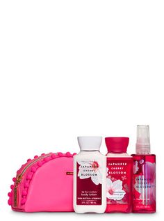 Japanese Cherry Blossom Cosmetic Bag Mini Gift Set by Bath & Body Works Bath N Body Works, Bath And Body, Japanese Blossom, Gift Baskets For Women, Fragrance Mist, Body Spray, Gifts For Family, Body Lotion, Travel Size Products