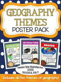 FREE.  Targets essential vocabulary. Anchor your geography unit with these five basic themes posters. Bright and colorful graphics highlight place, location, region, movement and interaction. Use these posters to introduce a topic and to reinforce as you build your unit. 5-8