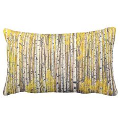 Yellow forest throw pillows
