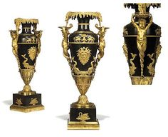 A PAIR OF RUSSIAN ORMOLU-MOUNTED PATINATED BRONZE VASES