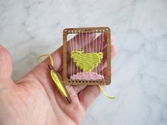 Mini weaving loom tapestry necklace pendant with shuttle $10