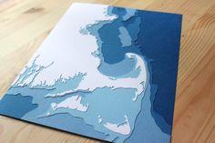 "Massachusetts Coastline - 8 x 10"" layered papercut art. $40.00, via Etsy."