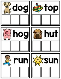 CVC Word Building Cards - Free by Amanda's Little Learners Kindergarten Centers, Homeschool Kindergarten, Kindergarten Reading, Teaching Reading, Phonemic Awareness Activities, Phonics Activities, Kids Learning Activities, Toddler Learning, Cvc Word Families