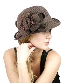 NYfashion101 Side Flip Cloche Bucket Hat w  Woven Flower  amp  Ribbon  Accent Taupe NYfashion101 38f94c88e3f1