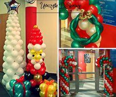 dekoracje balonowe, xmas balloons, dekoracje na mikołaja, dekoracje z balonów