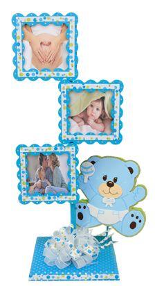 Portarretrato para Baby Shower en color azul. Perfecto para adornar tu mesa de regalos y la recamara del bebe