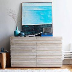 Stria 6-Drawer Dresser - Cerused White