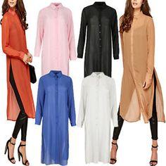 Womens Long Sleeve Chiffon Casual Long Shirt TOP Blouse Dress Plus Size AU 8 22 | eBay