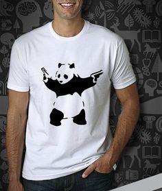 Banksy Panda with Guns Men's Tshirt  Panda Tshirt  by TUKUNO