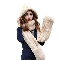 Specification: Soft and comfortable. Cute design and beautiful, lovely fashion scarf with hat, glove