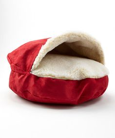 Loving this Red & White Cozy Cave Dog Bed on #zulily! #zulilyfinds
