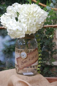 Decorative burlap 1/2 gallon mason jars by THE JAR JUNKIE. Hand crafted decor for your wedding centerpieces, hanging jars, home or friends. on Etsy, $15.00