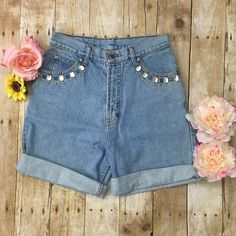 """High waisted Jeweled shorts High waisted mom shorts with crystal, gold and turquoise jewels 28"""" waist 16.5"""" long they are cuffed about twice Shorts Jean Shorts"""