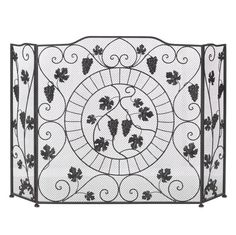 The fruits of a vineyard's finest crop is cast in iron to create a beautiful screen for your fireplace. The flame will illuminate this screen's fine details, fr