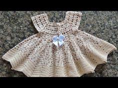 Crochet For Kids, Crochet Baby, Crochet Bikini, Toddler Dress, Baby Dress, Moda Crochet, Cardigan Pattern, Crochet Videos, Chrochet