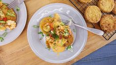Rachael's Fried Green Tomatoes with Pimiento Cheese Sauce and Green Onion and Jalapeno Scampi Recipe