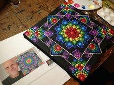 Dot Mandala canvas with rainbow colours