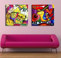 2 panels/set Canvas painting   canvas art Oil Painting abstract colorful music instruments wall pictures home wall deco No Frame