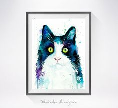 Cat watercolor painting print Cat art animal by SlaviART on Etsy