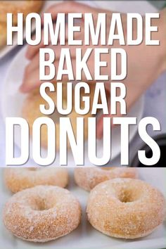 HOMEMADE BAKED Sugar Donuts recipe that is easy to make and ready in 15 minutes. These simple and extra soft donuts taste just like raised sugar donut Baked Doughnut Recipes, Easy Donut Recipe, Baked Doughnuts, Donuts Donuts, Cake Donut Recipe Baked, Donuts Recipe Without Yeast, Mexican Donuts Recipe, Bisquick Donut Recipe, Dunkin Donuts Recipe