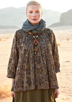"""Petra"" block-print blouse in organic cotton from GUDRUN SJÖDÉN"