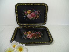 Vintage Hand Painted Look Multicolor Flowers Litho on Black Enamel Metal Trays Set of 2 - Shabby Chic BoHo Bistro Display Floral Bouquet Duo $22.00 by DivineOrders