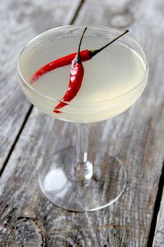The Killer B — London Dry Gin, Lemon Juice, Thai-Chile Simple Syrup Cocktail
