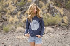 FULL MOON navy heather crew cut SOFT sweatshirt por TempleofCairo, $48.00