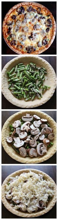 Easy Quiche Recipe with Asparagus, Mushrooms and Cheddar ++ Mushroom, Asparagus, and Cheddar Quiche - an elegant brunch recipe that can be prepared in just minutes Quiche Recipes, Veggie Recipes, Vegetarian Recipes, Cooking Recipes, Healthy Recipes, Vegetable Snacks, Carrot Recipes, Lentil Recipes, Ham Recipes