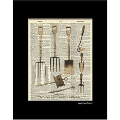 Vintage Garden Tool Illustration  Dictionary Art by BarnFeathers, $10.00