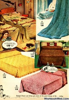 1955 Spiegel Christmas Catalog Page - Vintage Retro Mod MCM Chenille Bedspreads - Davy Crockett, Tweed, Heiress, Holiday and Lyric Styles Vintage Room, Bedroom Vintage, Vintage Ads, 1950s Bedroom, Retro Bedrooms, 50s Furniture, Antique Furniture, Catalog Cover, Chenille Bedspread