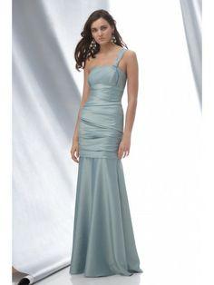Shantung One Shoulder Draped Bodice Floor-Length Bridesmaid Dress