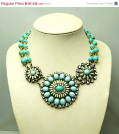 ON SALE turquoise necklacebubble necklacebeadwork by Arkpearl, $17.55 ETSY