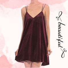 """HOLIDAY PARTY DRESS! VELOUR DOUBLE STRAP DRESS What a beautiful dress for the changing seasons! Rich velour burgundy dress with double t-strap detail. 95% polyester, 5% spandex. 33"""" long. Fully lined. GORGEOUS! NWOT. PLEASE DO NOT BUY THIS LISTING! I will personalize one for you. tla2 Dresses"""